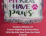 SSCA My Kids Have Paws Hat Patch