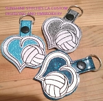 SSCA Layered Heart Volleyball Fob