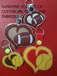 SSCA Layered Baseball and Football Heart Fob (2 sizes total of 4 designs)