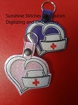 SSCA Layered Heart Nurses Cap Fob (2 sizes)