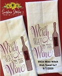 SSCA Wine Witch Dish Towel 5x7 Single Design