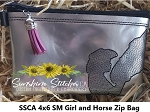 SSCA 4x6 Small Girl and Horse Lined Zipper Bag