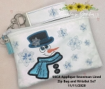 SSCA Applique Snowman 5x7  Bag