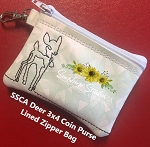 SSCA Deer Coin Purse 3x4 Lined Zipper Bag