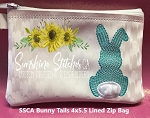 SSCA Bunny Tails  4x5.5 Lined Zip Bag