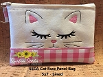SSCA Cat Face Panel 5x7 Lined Zip Bag